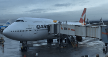 Qantas 747 in Vancouver after operating QF75 from Sydney - Our Collection